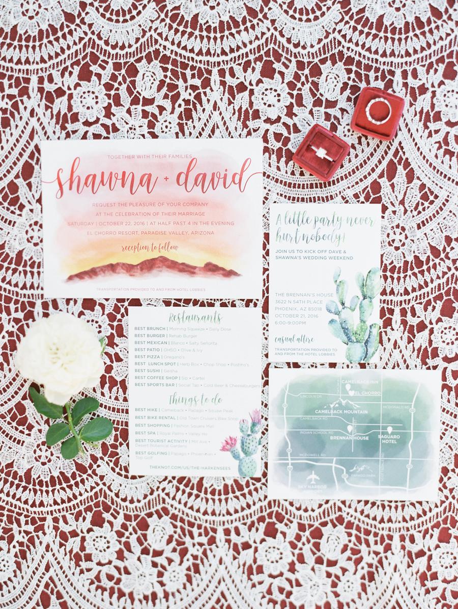 romantic wedding invitations - photo by Rachel Solomon https://ruffledblog.com/romantic-burgundy-and-pink-arizona-wedding