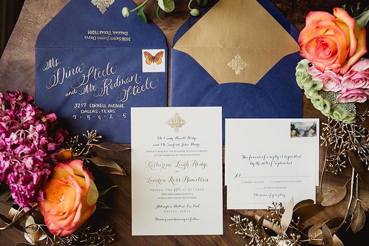 navy wedding invitations - photo by Shaun Menary Photography http://ruffledblog.com/romantic-garden-wedding-at-arlington-hall