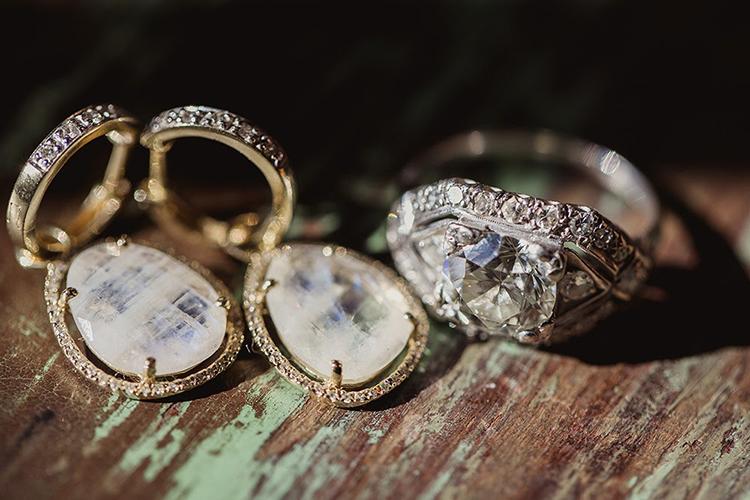 wedding day jewelry - photo by Shaun Menary Photography https://ruffledblog.com/romantic-garden-wedding-at-arlington-hall