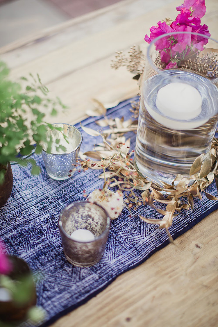 blue table runners - photo by Shaun Menary Photography https://ruffledblog.com/romantic-garden-wedding-at-arlington-hall