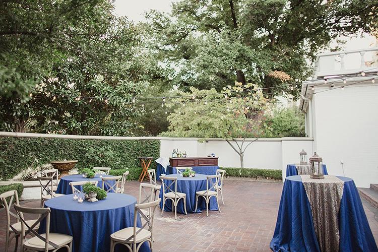 cocktail hour tables - photo by Shaun Menary Photography https://ruffledblog.com/romantic-garden-wedding-at-arlington-hall