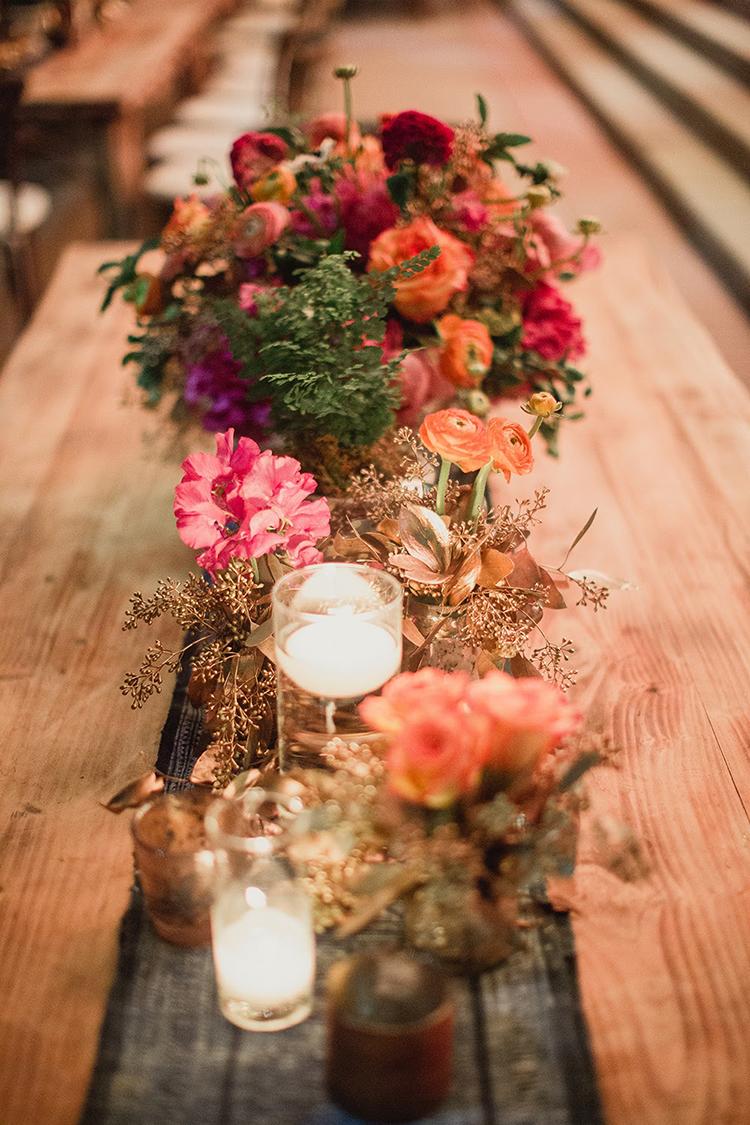 floral table runners - photo by Shaun Menary Photography https://ruffledblog.com/romantic-garden-wedding-at-arlington-hall