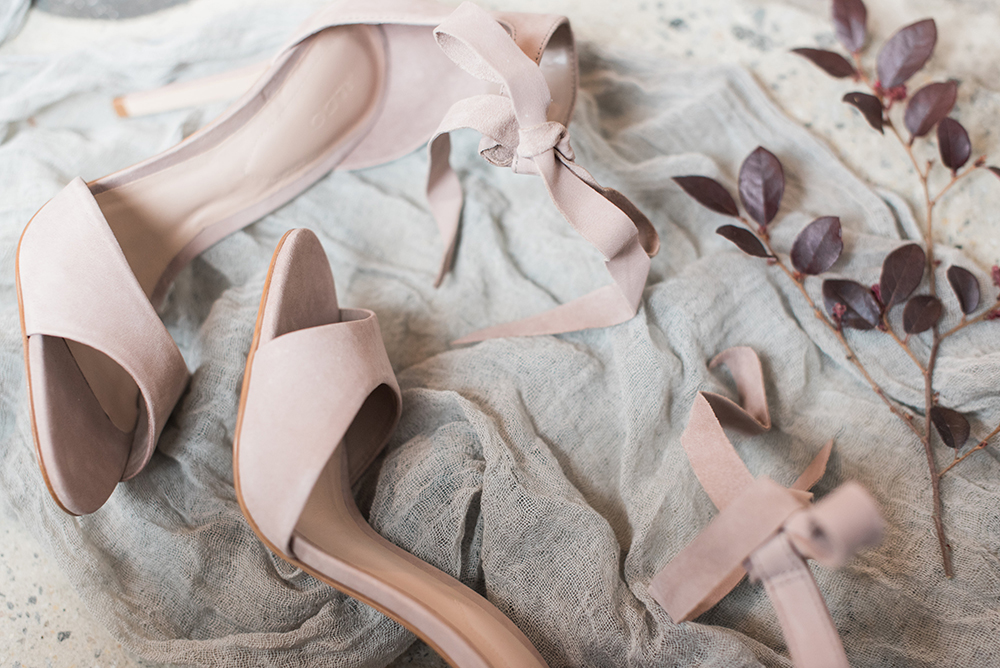 blush wedding shoes - photo by Holly Von Lanken Photography https://ruffledblog.com/romantic-modern-minimalist-wedding-inspiration