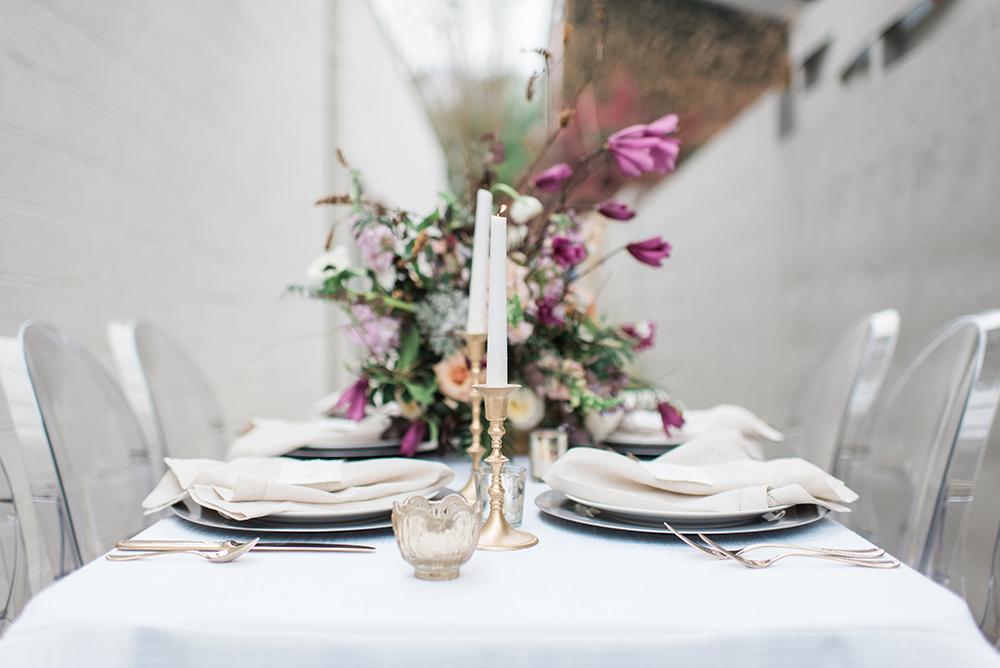 tablescapes - photo by Holly Von Lanken Photography https://ruffledblog.com/romantic-modern-minimalist-wedding-inspiration