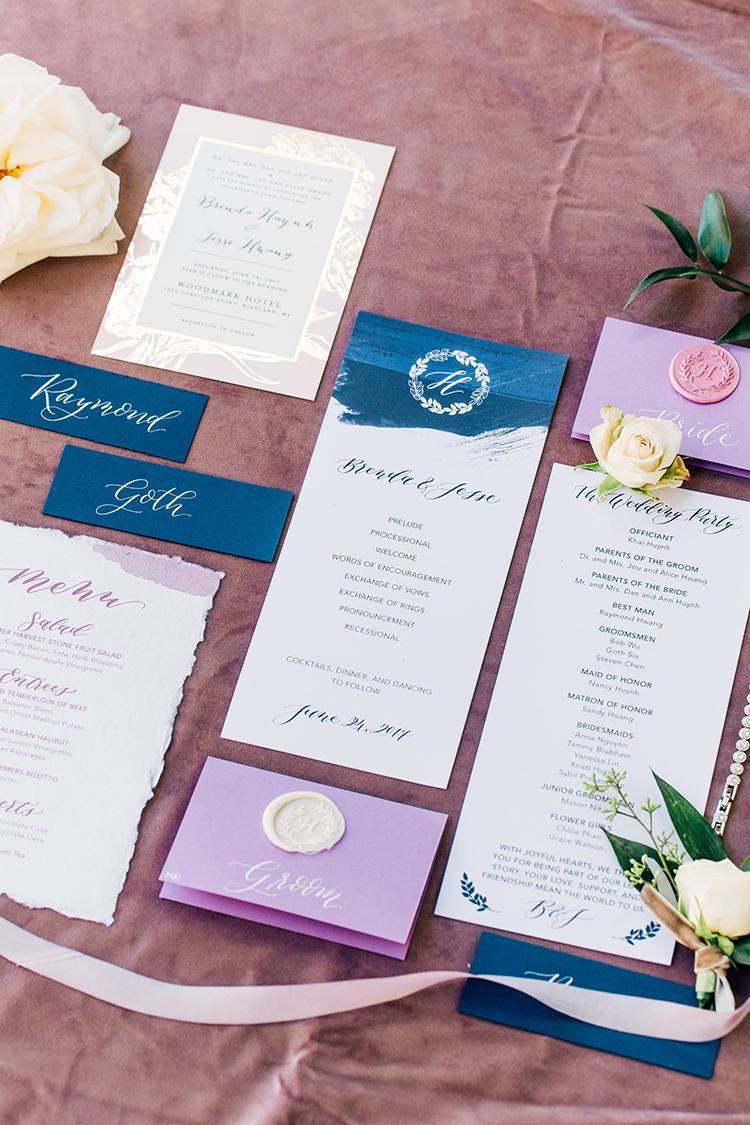 modern romantic wedding invitations - https://ruffledblog.com/romantic-pacific-northwest-wedding-with-mauve-and-champagne