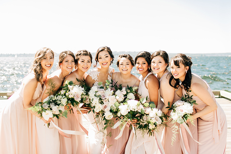 blush pink bridesmaid dresses - http://ruffledblog.com/romantic-pacific-northwest-wedding-with-mauve-and-champagne