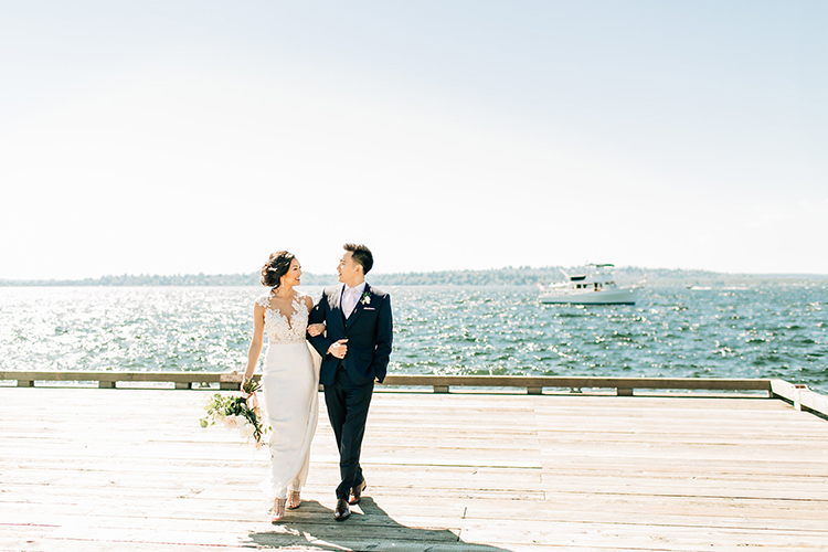 waterside wedding portraits - http://ruffledblog.com/romantic-pacific-northwest-wedding-with-mauve-and-champagne