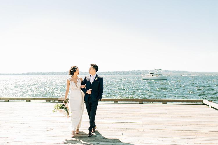 waterside wedding portraits - https://ruffledblog.com/romantic-pacific-northwest-wedding-with-mauve-and-champagne