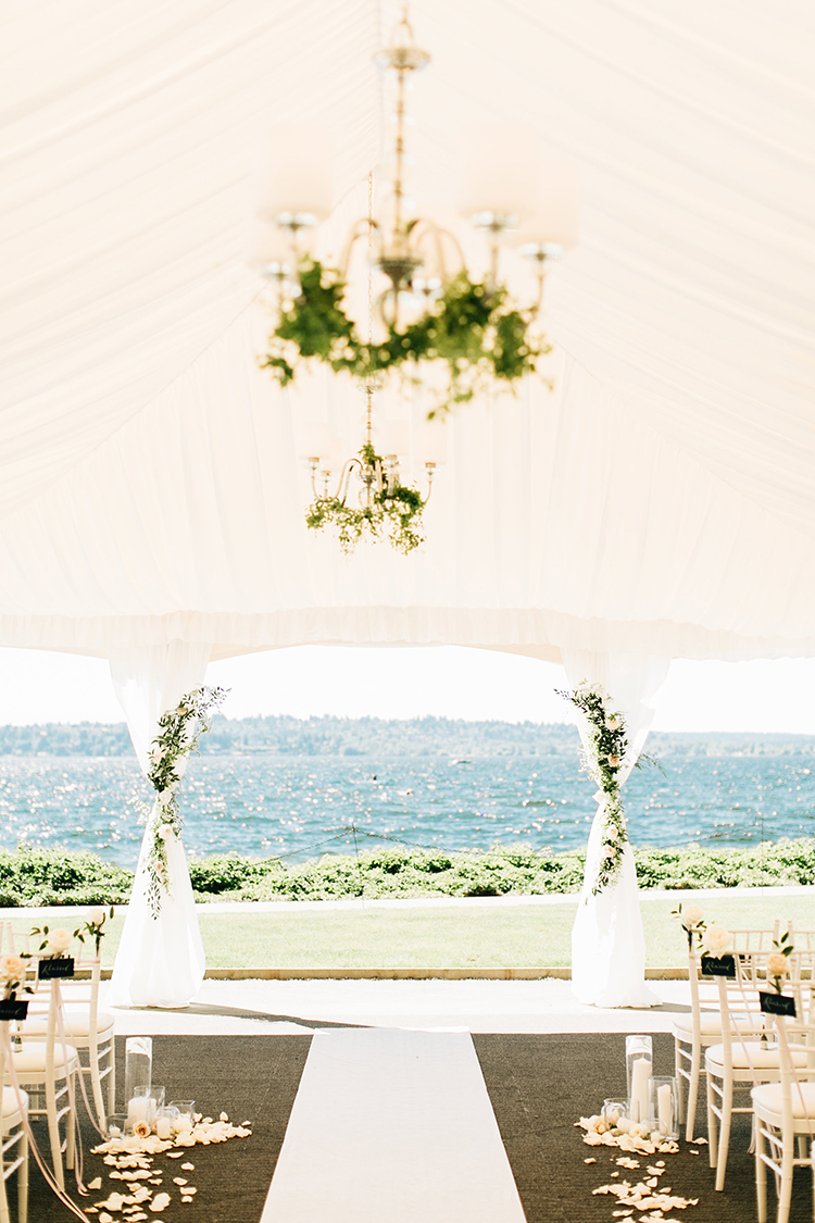 romantic wedding ceremonies under tents - http://ruffledblog.com/romantic-pacific-northwest-wedding-with-mauve-and-champagne