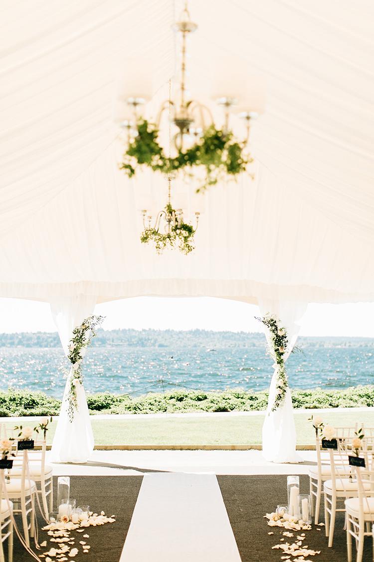 romantic wedding ceremonies under tents - https://ruffledblog.com/romantic-pacific-northwest-wedding-with-mauve-and-champagne