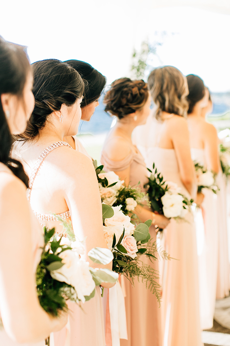 peach bridesmaid dresses - https://ruffledblog.com/romantic-pacific-northwest-wedding-with-mauve-and-champagne