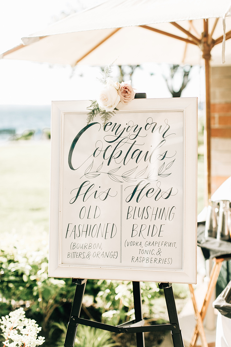 wedding drink signs - http://ruffledblog.com/romantic-pacific-northwest-wedding-with-mauve-and-champagne