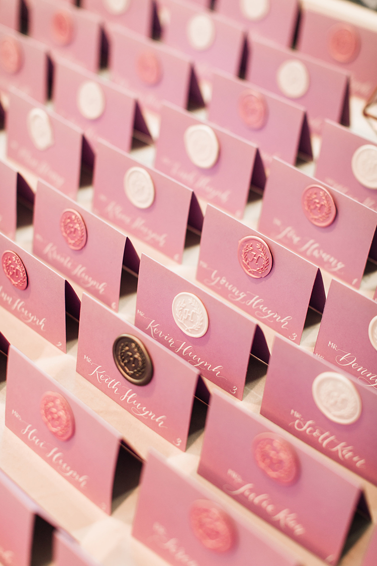 mauve wedding place cards - http://ruffledblog.com/romantic-pacific-northwest-wedding-with-mauve-and-champagne