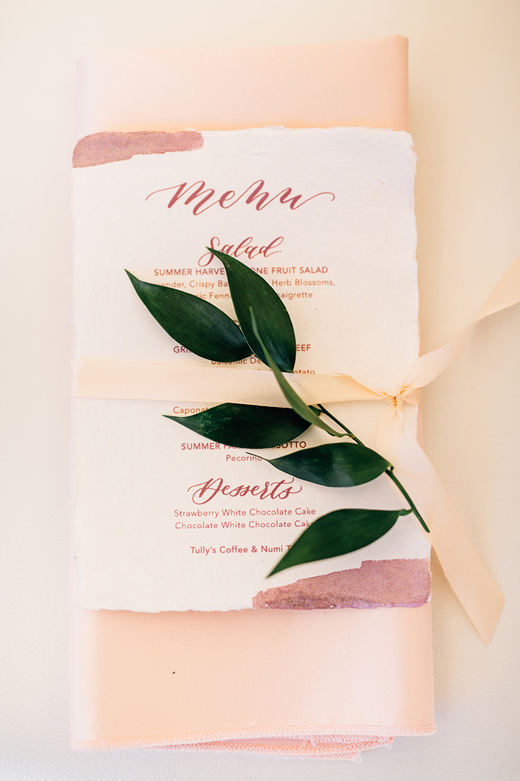 light pink wedding details - https://ruffledblog.com/romantic-pacific-northwest-wedding-with-mauve-and-champagne