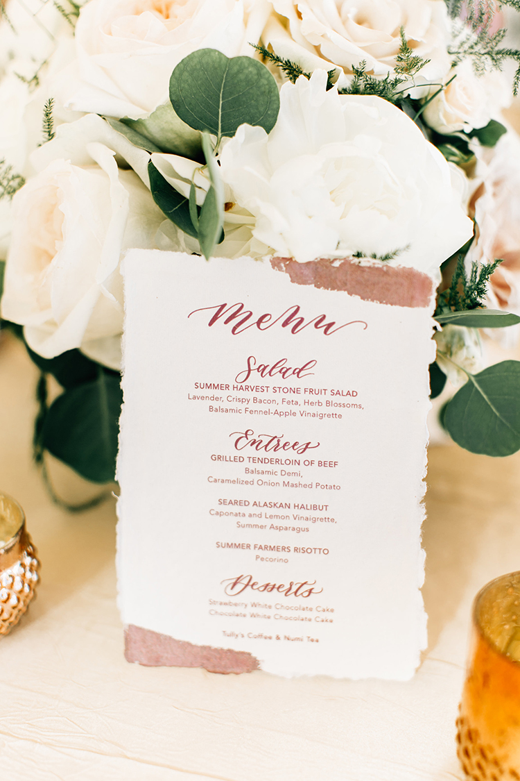 wedding paper goods - https://ruffledblog.com/romantic-pacific-northwest-wedding-with-mauve-and-champagne
