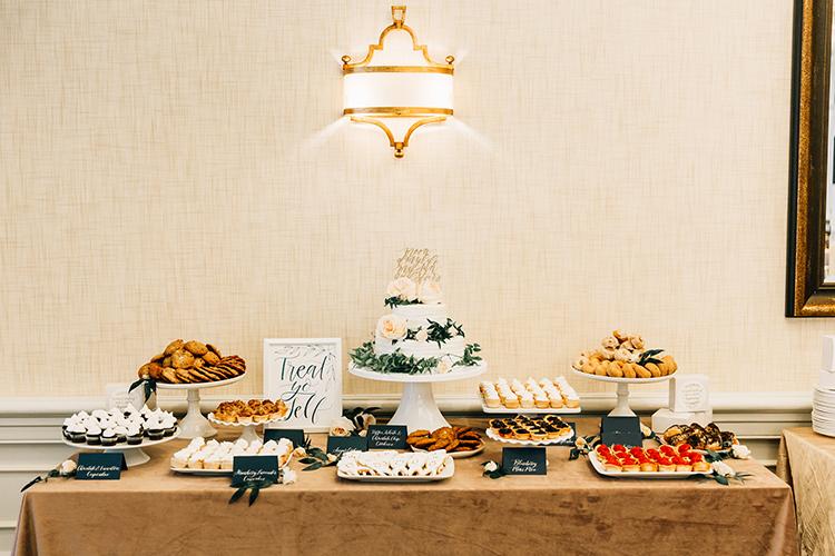 wedding dessert tables - https://ruffledblog.com/romantic-pacific-northwest-wedding-with-mauve-and-champagne