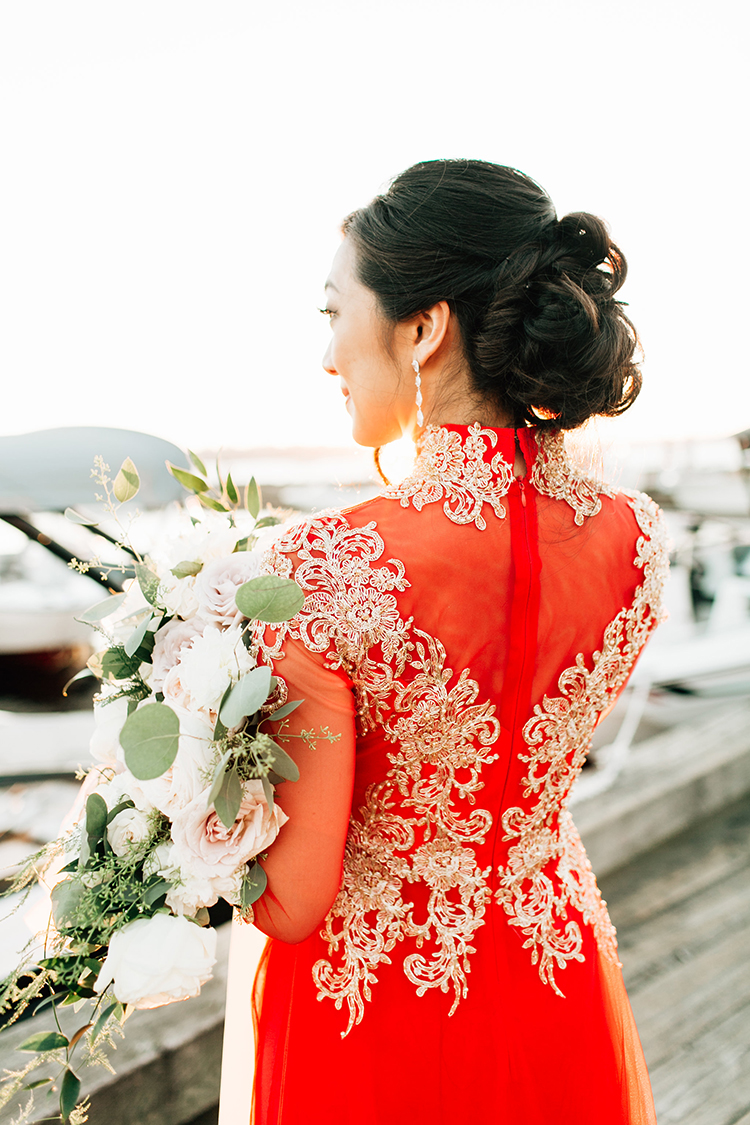 red and gold wedding gowns - https://ruffledblog.com/romantic-pacific-northwest-wedding-with-mauve-and-champagne