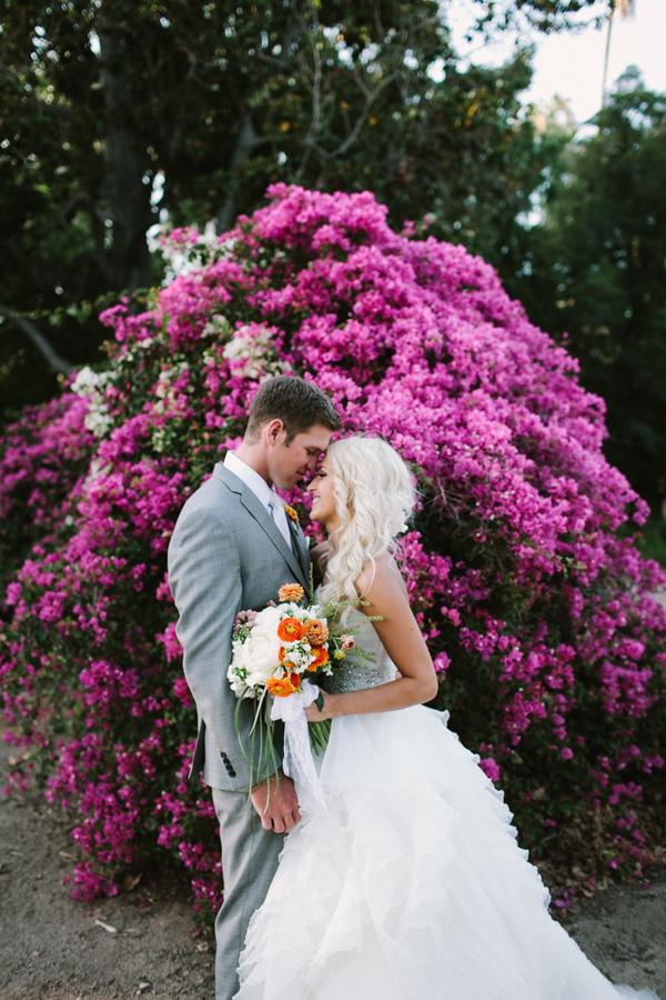 wedding portrait - photo by Joe and Kathrina Photography https://ruffledblog.com/romantic-peach-wedding-at-la-arboretum