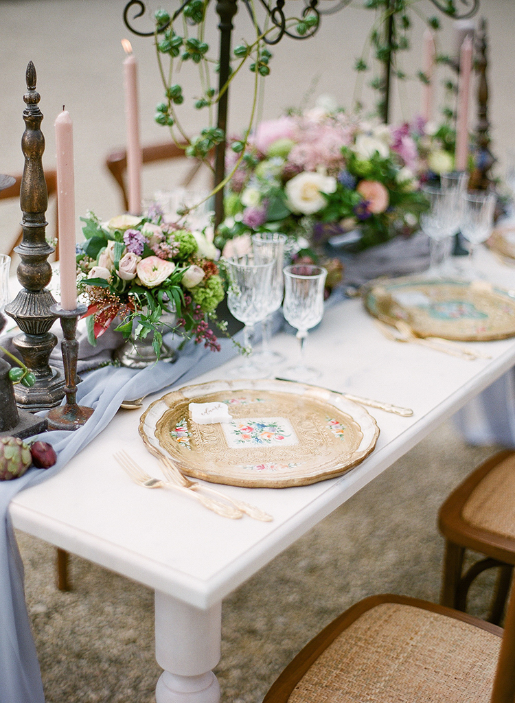 romantic tablescape inspiration - photo by Jenny Soi Photography https://ruffledblog.com/romantic-rooftop-elopement-inspiration-in-florence