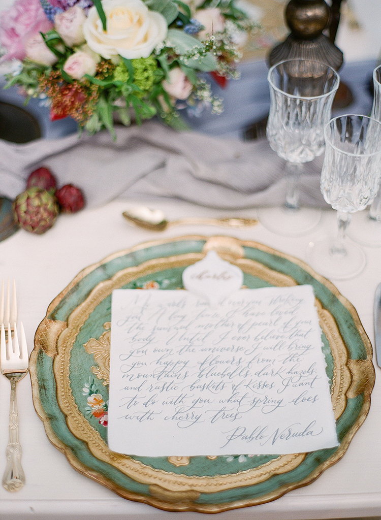 vintage plate place settings - photo by Jenny Soi Photography https://ruffledblog.com/romantic-rooftop-elopement-inspiration-in-florence