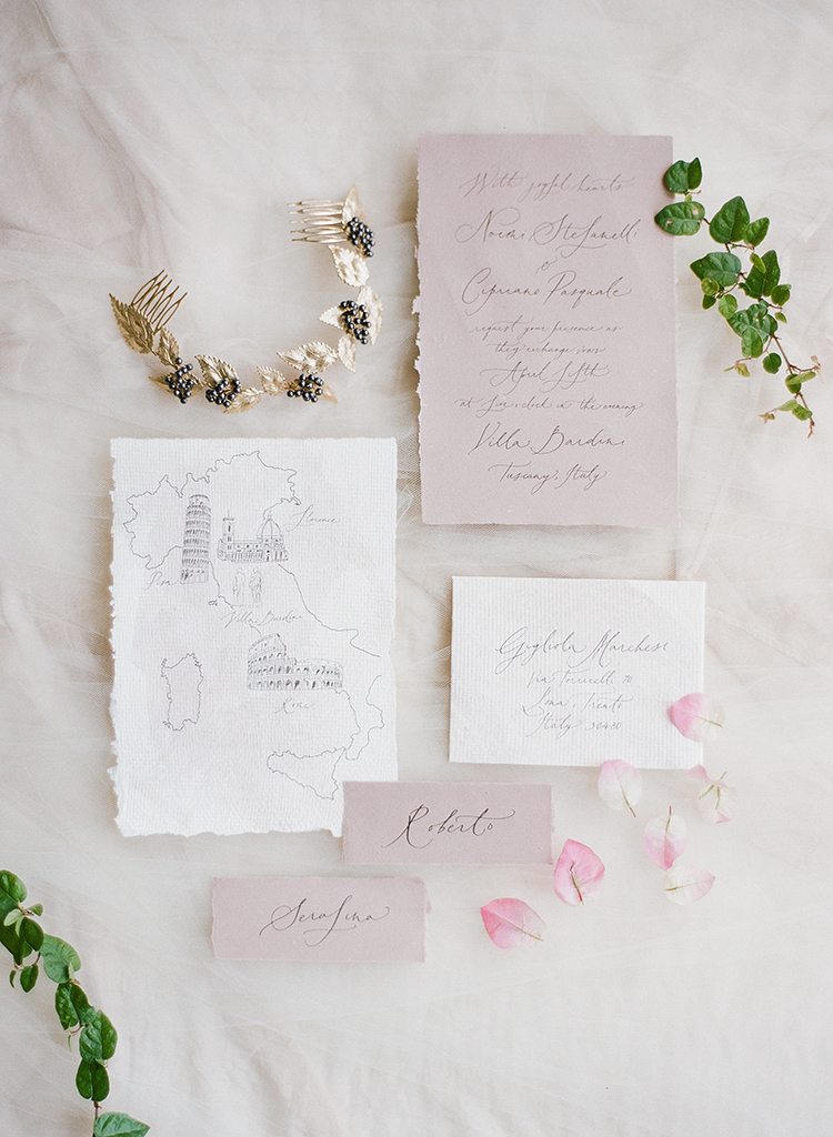 romantic wedding stationery - photo by Jenny Soi Photography http://ruffledblog.com/romantic-rooftop-elopement-inspiration-in-florence