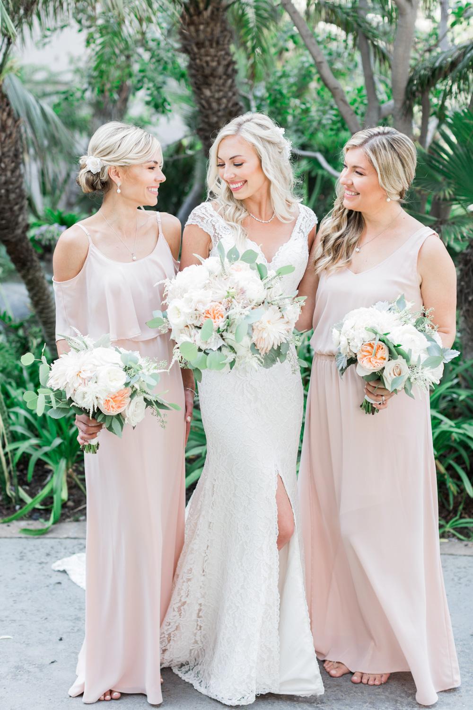 blush bridesmaid gowns