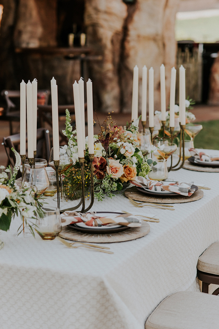 wedding tablescapes - photo by Shelly Anderson Photography https://ruffledblog.com/san-diego-safari-park-glamping-wedding-editorial