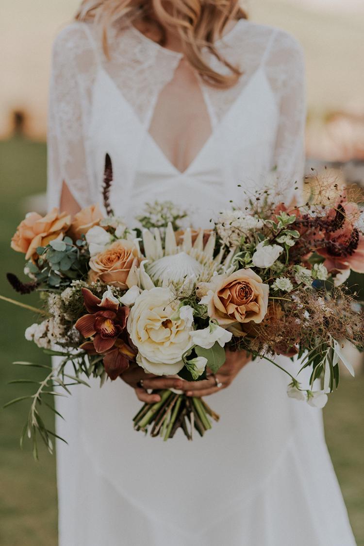 desert inspired wedding bouquet - photo by Shelly Anderson Photography https://ruffledblog.com/san-diego-safari-park-glamping-wedding-editorial