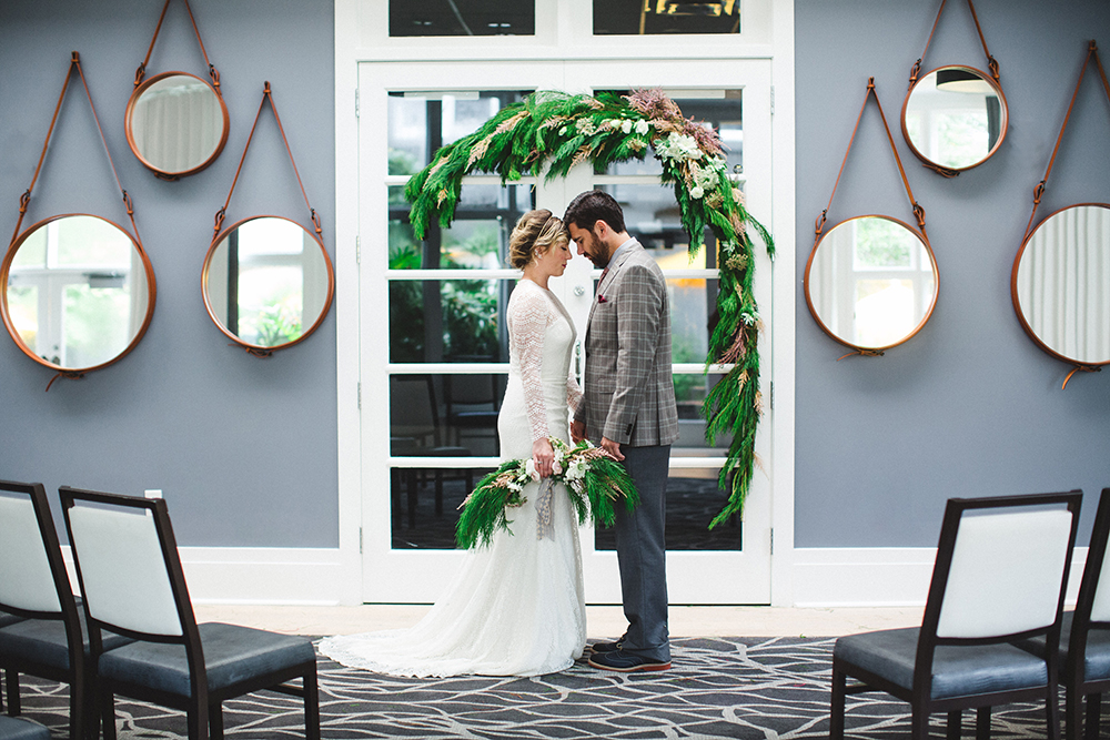 indoor winter wedding - photo by Izzy Hudgins Photography https://ruffledblog.com/scandinavian-holiday-wedding-inspiration