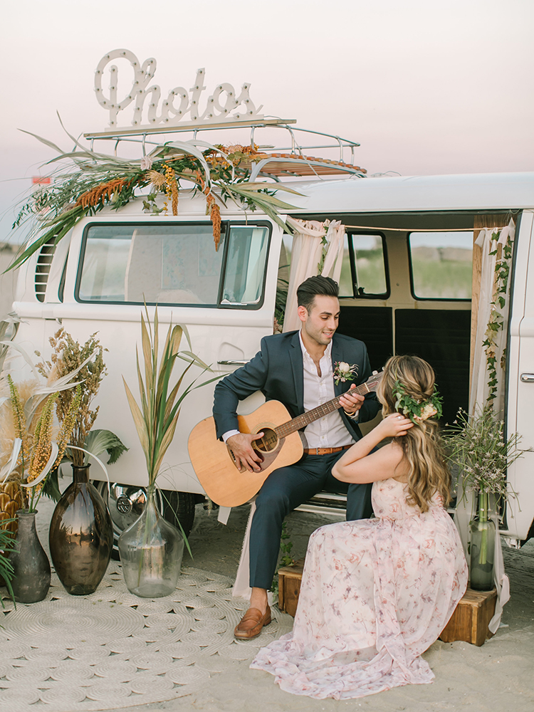 September Sunsets Wedding Inspiration with a VW Bus - http://ruffledblog.com/september-sunsets-wedding-inspiration-with-a-vw-bus