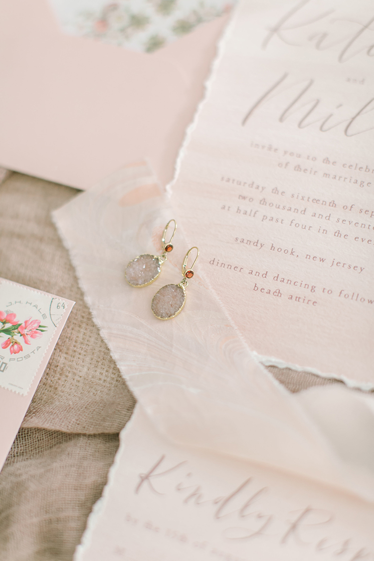 druzy wedding jewelry - http://ruffledblog.com/september-sunsets-wedding-inspiration-with-a-vw-bus