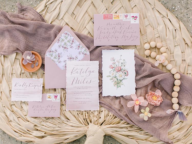 mauve wedding invitations - http://ruffledblog.com/september-sunsets-wedding-inspiration-with-a-vw-bus