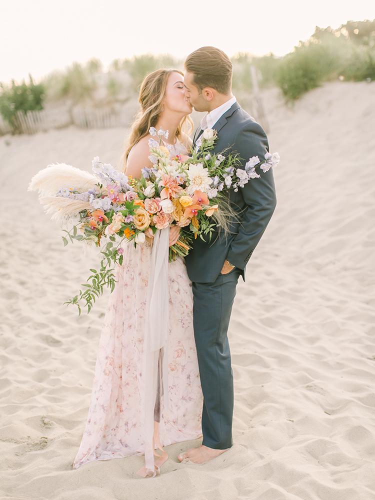 wedding portraits - http://ruffledblog.com/september-sunsets-wedding-inspiration-with-a-vw-bus