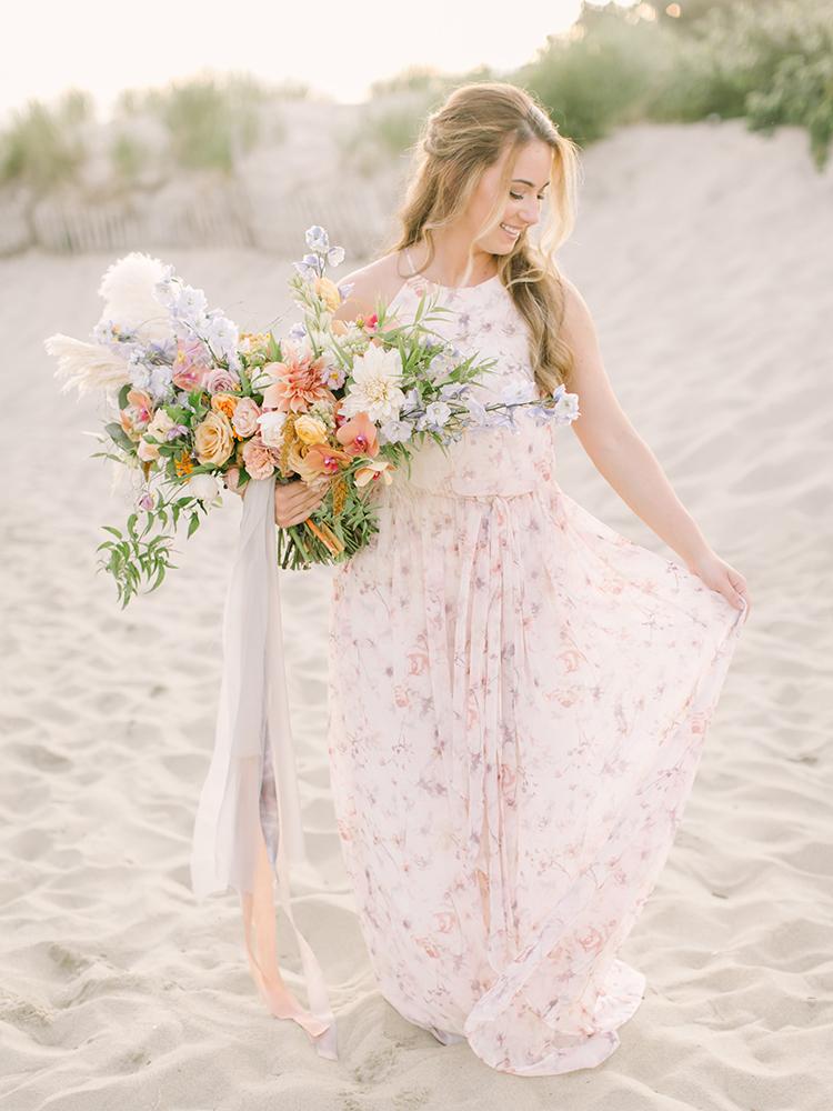 romantic floral wedding dress alternatives - http://ruffledblog.com/september-sunsets-wedding-inspiration-with-a-vw-bus