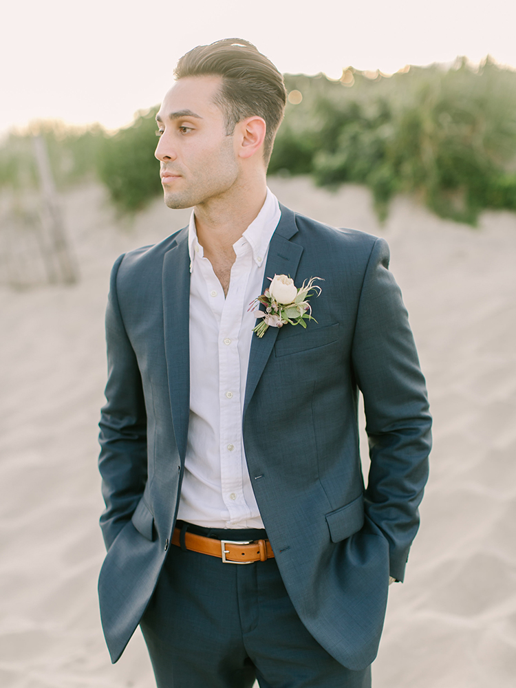 blue grey groom suits - https://ruffledblog.com/september-sunsets-wedding-inspiration-with-a-vw-bus