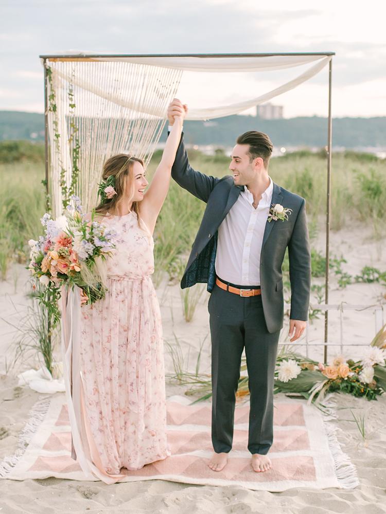 bohemian beach wedding inspiration - http://ruffledblog.com/september-sunsets-wedding-inspiration-with-a-vw-bus