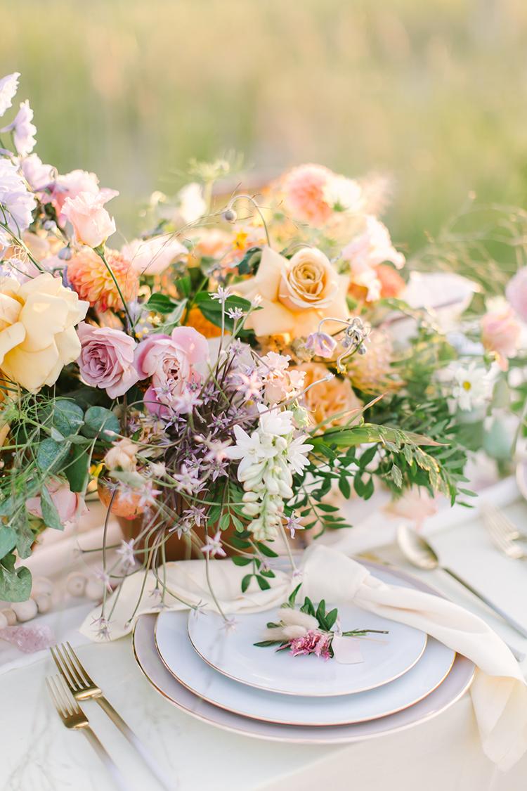 peach and mauve wedding inspiration - http://ruffledblog.com/september-sunsets-wedding-inspiration-with-a-vw-bus