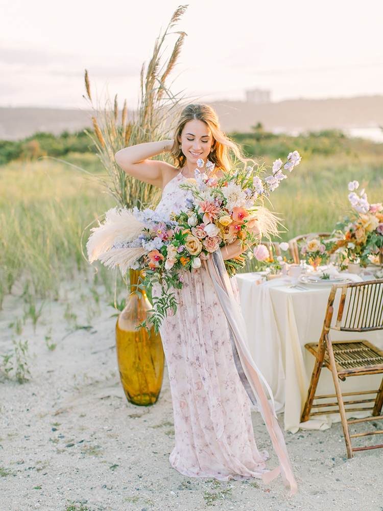 romantic floral arrangements - http://ruffledblog.com/september-sunsets-wedding-inspiration-with-a-vw-bus