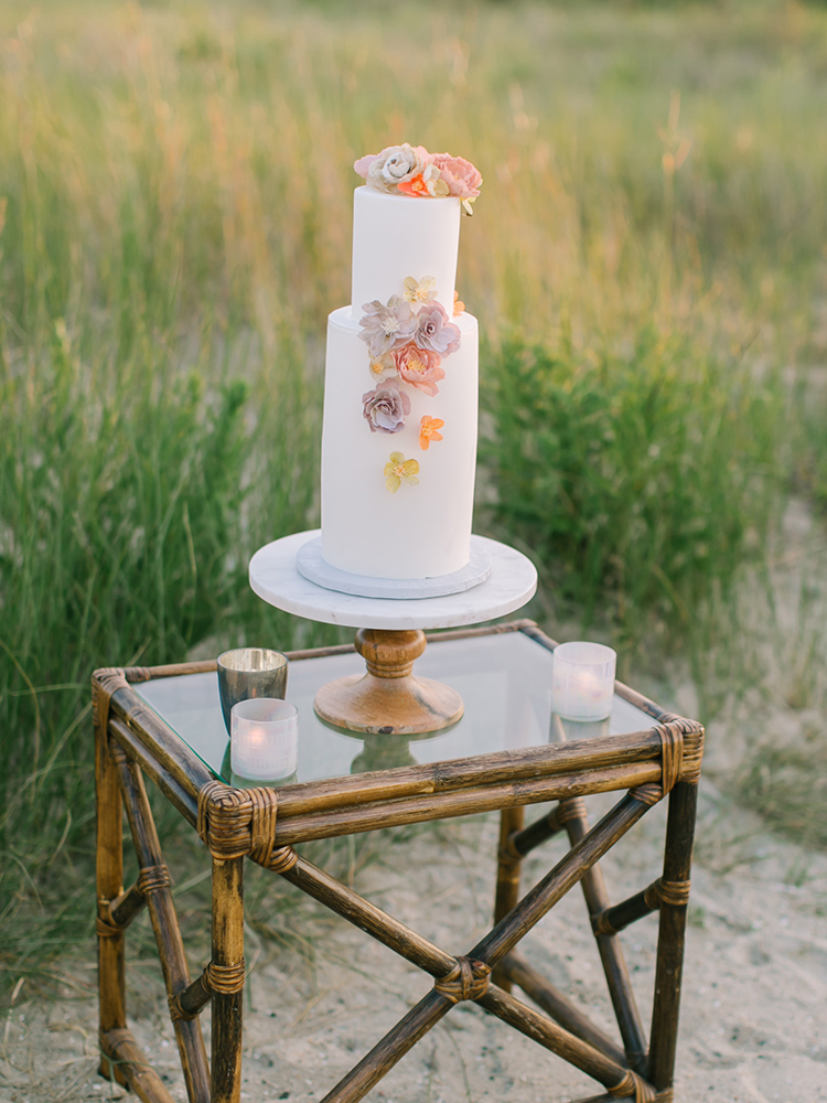 wedding cake tables - https://ruffledblog.com/september-sunsets-wedding-inspiration-with-a-vw-bus