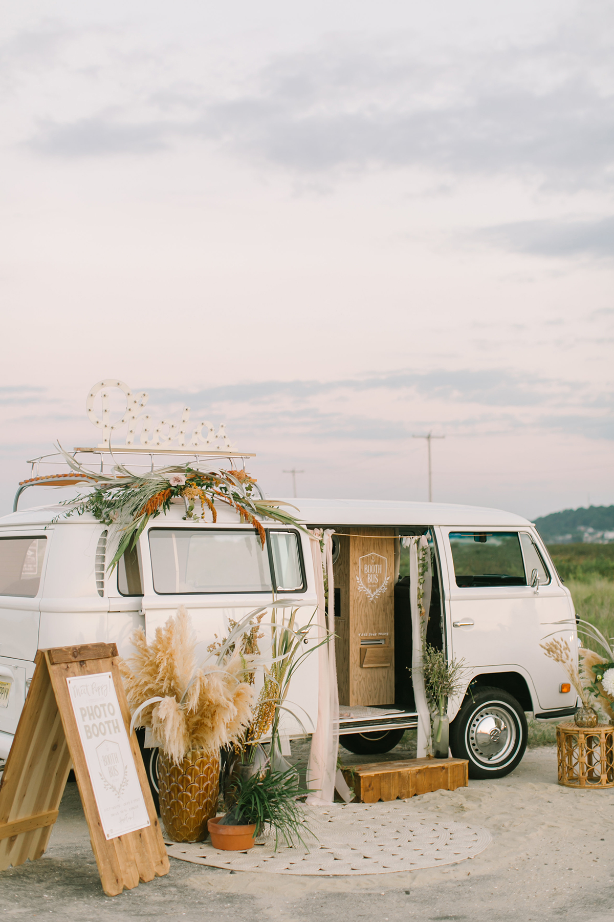 VW photo booth bus - https://ruffledblog.com/september-sunsets-wedding-inspiration-with-a-vw-bus
