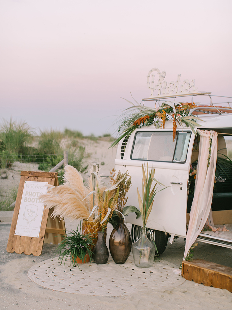 boho wedding photo booth bus ideas - http://ruffledblog.com/september-sunsets-wedding-inspiration-with-a-vw-bus