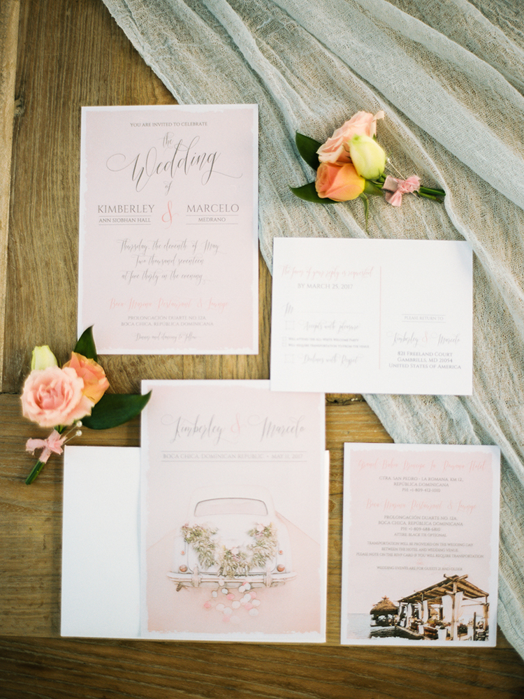 blush pink wedding stationery - photo by Asia Pimentel Photography http://ruffledblog.com/seriously-chic-destination-wedding-in-punta-cana