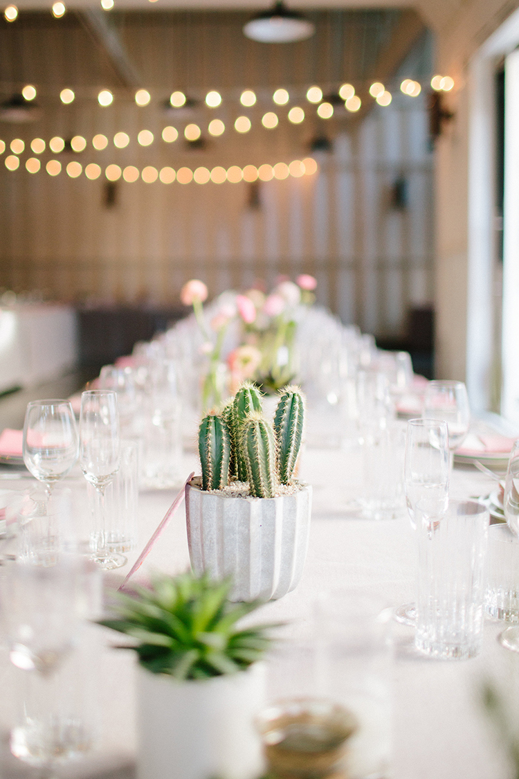 wedding tablescapes with cactus - photo by Birds of a Feather https://ruffledblog.com/soft-and-romantic-wedding-at-lombardi-house