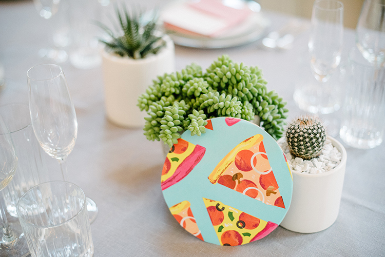 pizza wedding tables - photo by Birds of a Feather https://ruffledblog.com/soft-and-romantic-wedding-at-lombardi-house