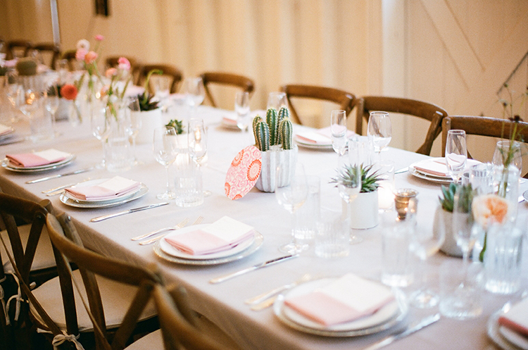 wedding tablescapes with grey and cactus - photo by Birds of a Feather http://ruffledblog.com/soft-and-romantic-wedding-at-lombardi-house