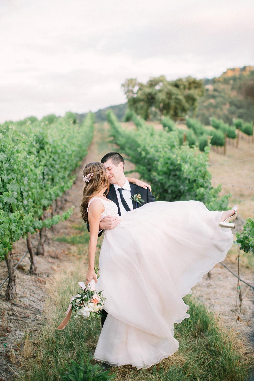 vineyard wedding bride and groom flowy wedding dress