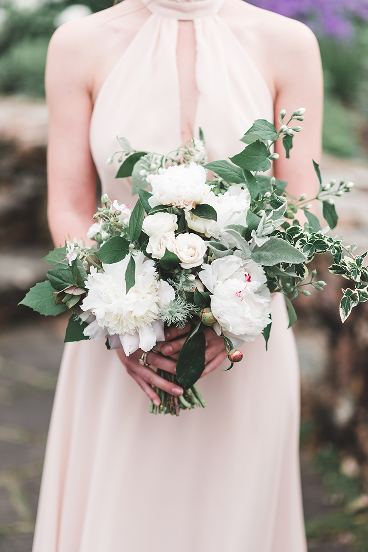 leafy bouquets with white flowers - https://ruffledblog.com/soft-romantic-wedding-inspiration-in-all-green
