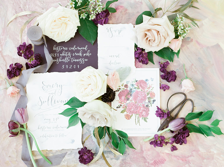 wedding invitations - photo by Julie Paisley https://ruffledblog.com/southern-summer-wedding-inspiration-with-berry-hues