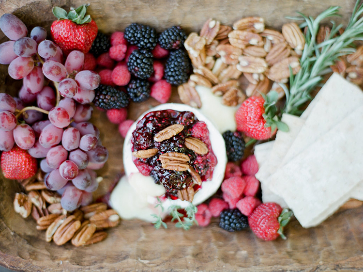 fruit plates - photo by Julie Paisley http://ruffledblog.com/southern-summer-wedding-inspiration-with-berry-hues