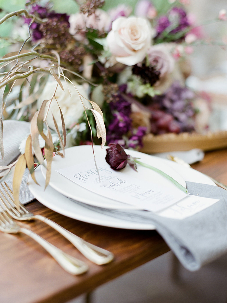 mauve and berry tablescape - photo by Julie Paisley http://ruffledblog.com/southern-summer-wedding-inspiration-with-berry-hues